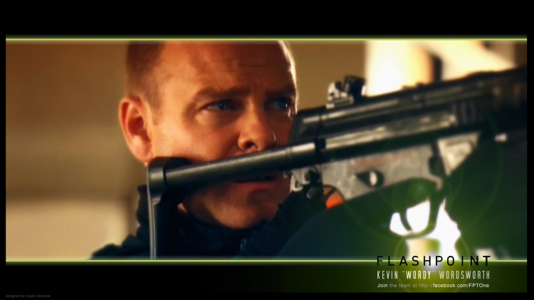 Flashpoint character Constable Kevin Wordsworth (Michael Cram), aka Wordy, readies his HK MP5